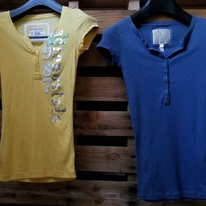 2 ribbed short sleeve henleys